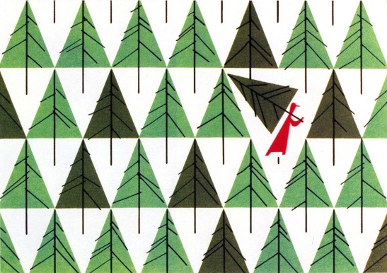 Christmas Card by Charley Harper, 1952 / http://what-floats-my-boat.tumblr.com/post/13092949069/buchino-christmas-card-by-charley-harper-1952